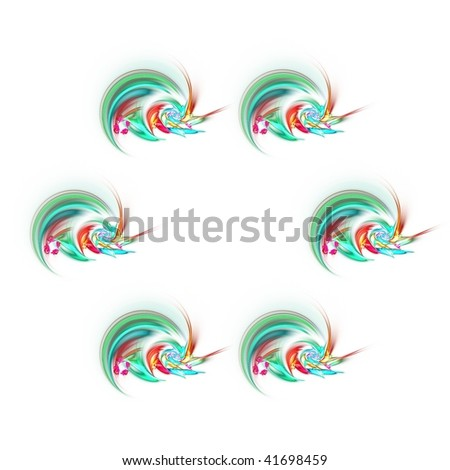 Series of six identical designs of turquoise abstract swirls with a flower in the centre suitable for a Spring or Summer theme, for birthday cards, art projects or business cards