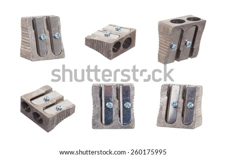Series of six sharpeners isolated on a white background - stock photo