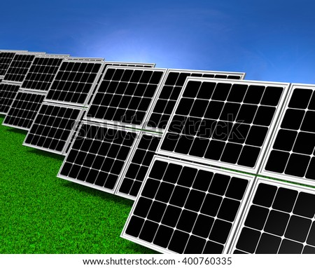 Series of Solar Panels on Grass Field under Blue Sky 3D illustration - stock photo