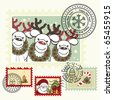 Series of stylized Christmas post stamps. - stock vector