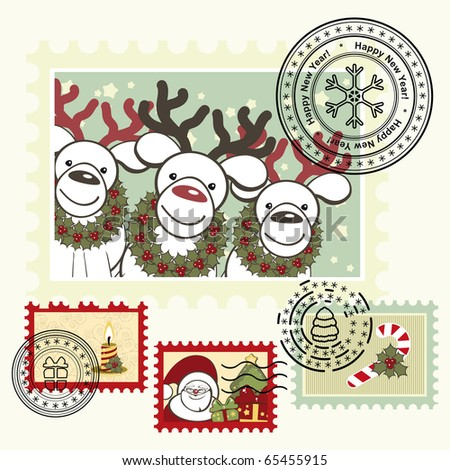 Series of stylized Christmas post stamps. - stock photo