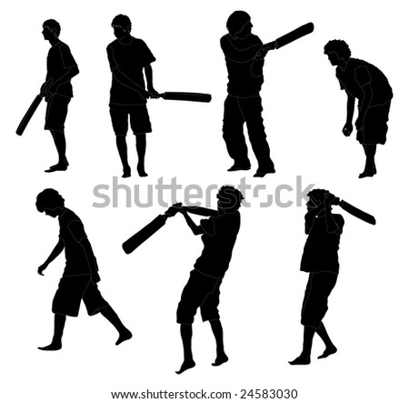 Series of Teenager boys playing Cricket