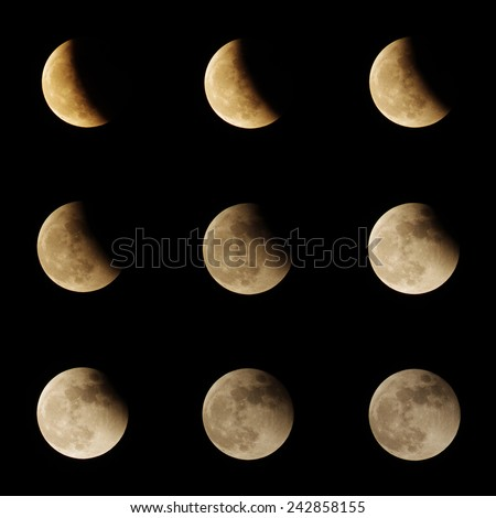 Series of the lunar eclipse after fully eclipse to the full moon again - stock photo