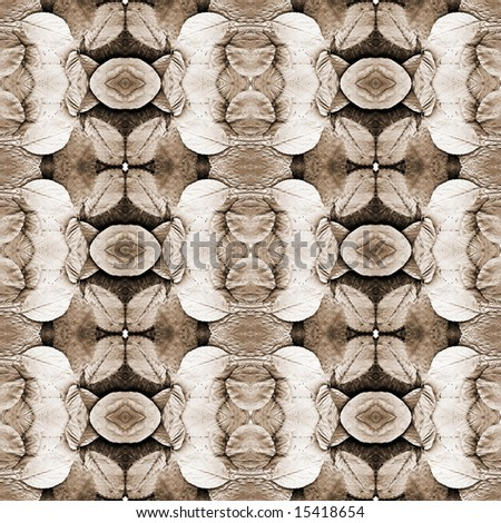 Series of the seamless natural patterns (toned leaves, sepia) - stock photo