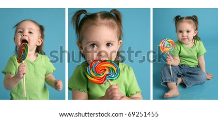 Series of three images featuring an adorable baby girl wearing pigtails and a green shirt, enjoying a lollipop sucker - stock photo