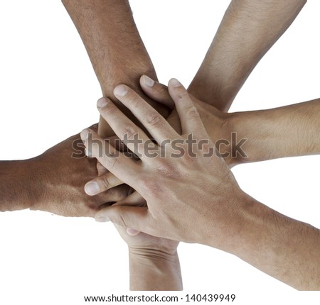Series of various hands representing diversity.Lots of hands of - stock photo