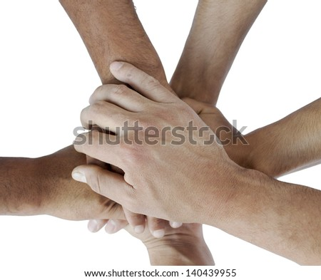Series of various hands representing diversity.Lots of hands of
