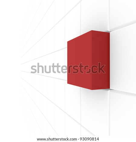 series of white cubes, one red. computer Simulation - stock photo