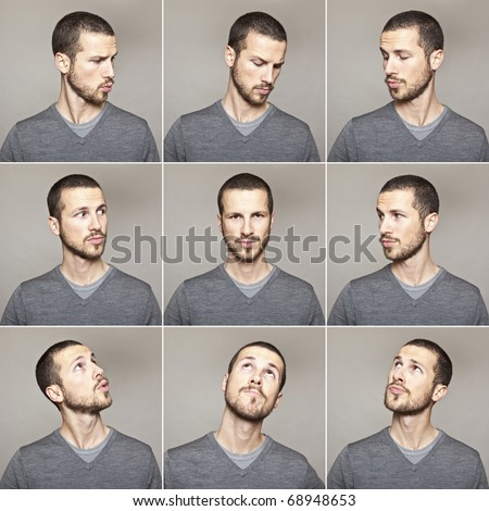 series of young man's funny portrait looking to each other - stock photo