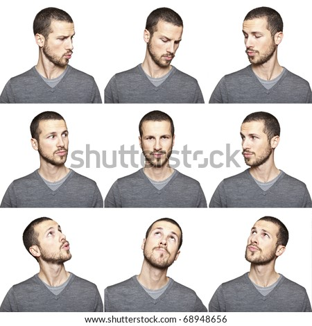 series of young man's funny portrait looking to each other