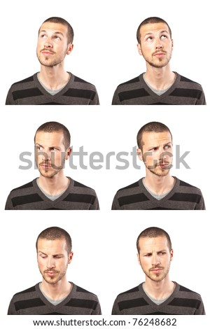series of young man's funny portrait looking to various directions - stock photo
