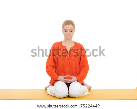 series or yoga photos. young woman in virasana pose on yellow pilates mat