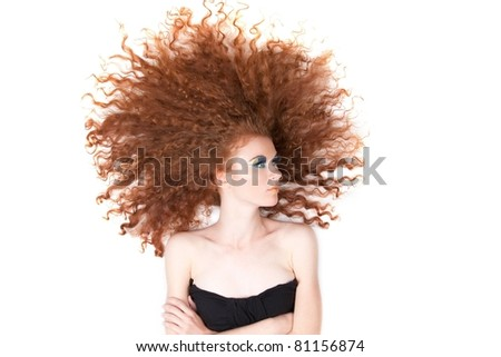 series photo of high angle portrait of the pretty young beautiful woman with long red curly hair lying on floor over white background. Concept of beauty hair care, wellness, style, shampoo, in studio - stock photo