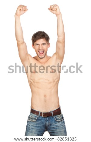 Series photo of young sexy muscular macho man posing in jeans with naked torso holding raised hands and arms up, fashion model with athletic sport body, isolated over white background - stock photo