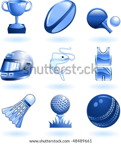 Series set of shiny colour icons or design elements related to sports - stock photo