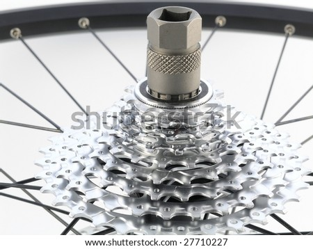 series sport:  rear bicycle cog cassette isolated on white background (close-up) - stock photo