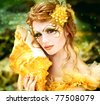 Series. Young beautiful girl in the image of a mermaid - stock photo