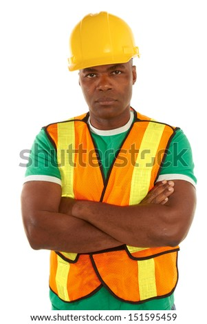 serious african american construction with arms crossed isolated on white background