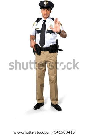 Serious African young man with short black hair in uniform holding handgun - Isolated