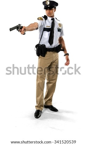 Serious African young man with short black hair in uniform using handgun - Isolated - stock photo