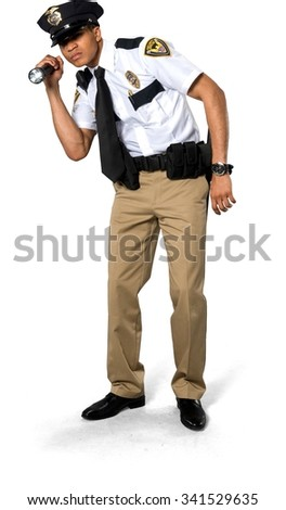 Serious African young man with short black hair in uniform using prop - Isolated - stock photo