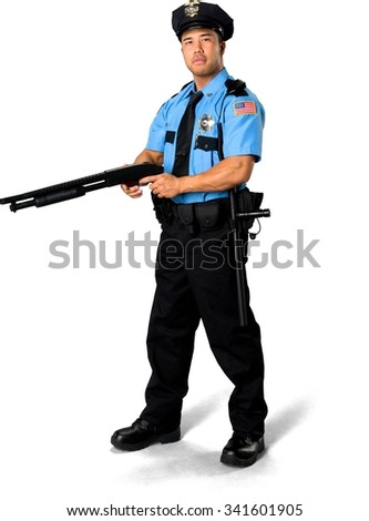 Serious Asian man with short black hair in uniform using shotgun - Isolated - stock photo