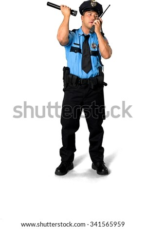 Serious Asian man with short black hair in uniform using walkie-talkie - Isolated