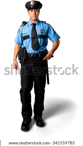 Serious Asian man with short black hair in uniform walking - Isolated - stock photo