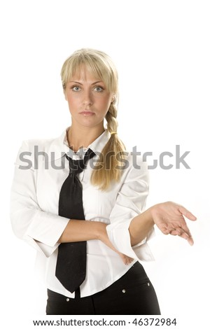 Serious attractive young businesswoman. - stock photo