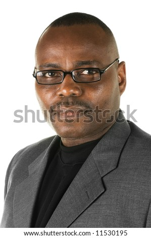 Serious black business man with glasses on a white background