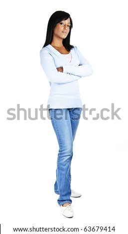 Serious black woman with arms crossed standing isolated on white background - stock photo