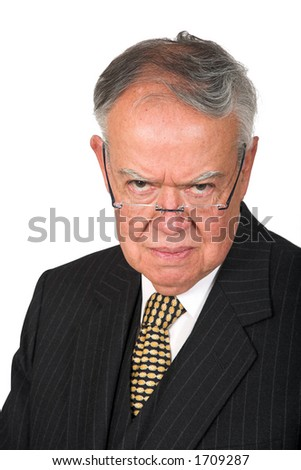 serious boss over white - stock photo