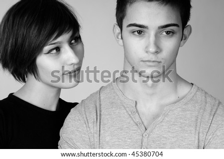 serious boy and girl - stock photo