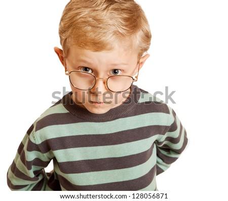 Serious boy portrait in eyeglasses - stock photo