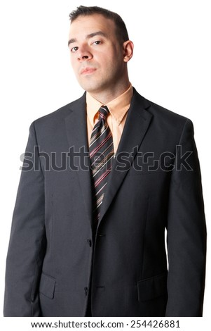Serious business man in a black suit isolated over a white background. - stock photo