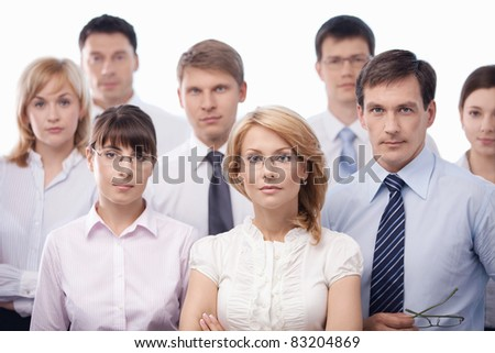 Serious business people isolated - stock photo
