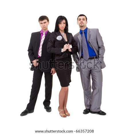 serious business team standing on a white background - stock photo