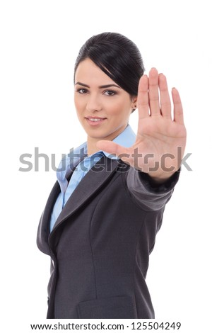 Serious business woman making stop sign over white - stock photo