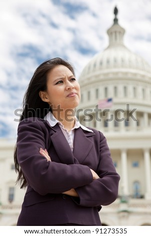 Serious business woman on Capitol Hill in Washington DC - stock photo