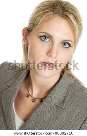Serious business woman portrait isolated on a white background - stock photo