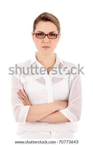 Serious business woman wearing glasses- isolated over white - stock photo
