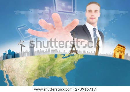 Serious businessman in suit gesturing against global connection background - stock photo