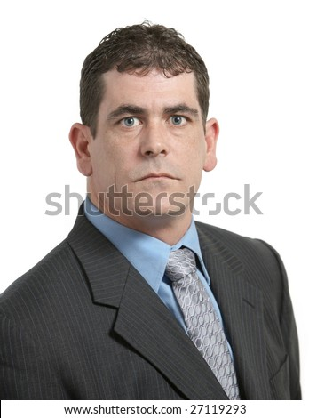 Serious businessman in suit on white background - stock photo