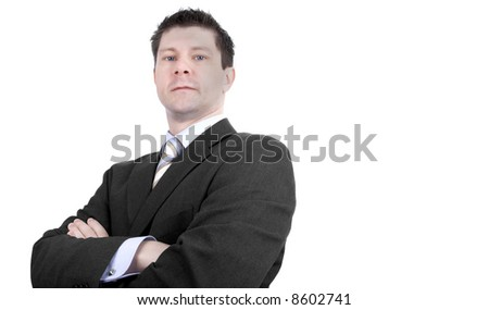 Serious Businessman Isolated against White - stock photo