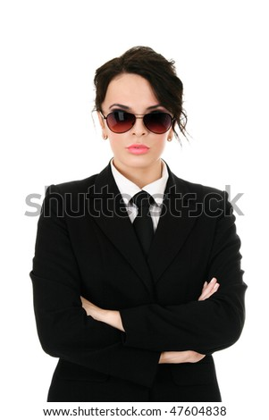 Serious businesswoman in black glasses isolated on white background - stock photo