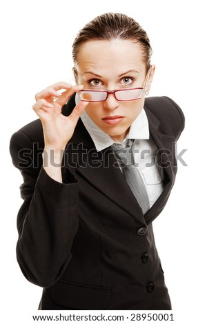 serious businesswoman in glasses. isolated on white