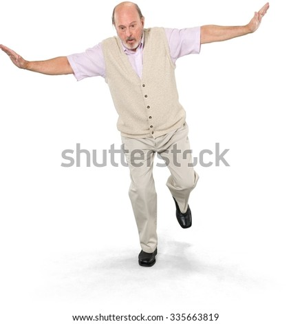 Serious Caucasian elderly man with short grey hair in casual outfit with arms open - Isolated - stock photo