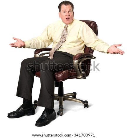serious caucasian elderly man with short medium brown hair in business casual outfit with arms open - Office Chair For Short Person