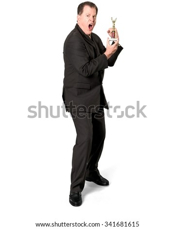 Serious Caucasian elderly man with short medium brown hair in business formal outfit holding award - Isolated - stock photo