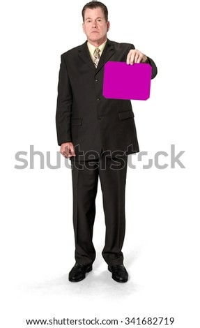 Serious Caucasian elderly man with short medium brown hair in business formal outfit holding medium sign - Isolated